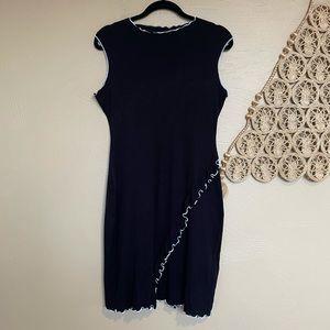 Bebe Black Sleeveless Mini Dress with White Trim L